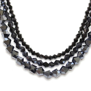 Multi-pack - Glass Beads Gunmetal Bicone (sizes 3mm , 4mm , 6mm )Beads by Halcraft Collection