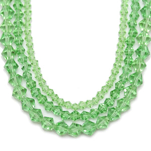 Multi-pack - Glass Beads Light Green Bicone (sizes 3mm , 4mm , 6mm )Beads by Halcraft Collection