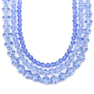 Multi-pack - Glass Beads Light Sapphire Bicone (sizes 3mm , 4mm , 6mm )Beads by Halcraft Collection