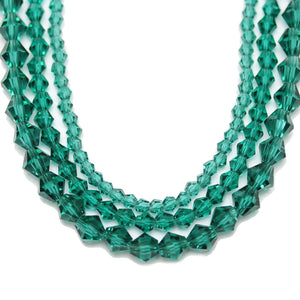 Multi-pack - Glass Beads Ocean Green Bicone (sizes 3mm , 4mm , 6mm )Beads by Halcraft Collection
