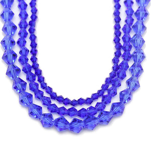 Multi-pack - Glass Beads Sapphire Bicone (sizes 3mm , 4mm , 6mm )Beads by Halcraft Collection