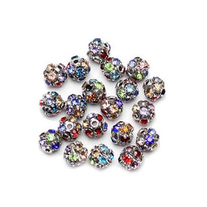 Mixed Color Silver Tone Rhinestone Ball Beads 6mm