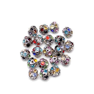 Mixed Color Silver Tone Rhinestone Ball Beads 8mm