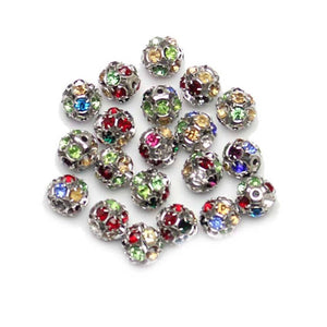 Bead, Beads, Glass, Glass Bead, Glass Beads, Metal, Metal Bead, Metal Beads, Rhinestone, Rhinestone Bead, Rhinestone Beads, Rhinestone Balls, Round, Round Bead, Round Beads, 10mm, Multi, Silver