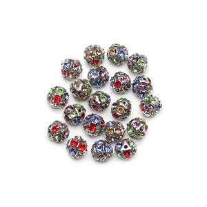 Mixed Color Silver Tone Rhinestone Ball Beads 12mm