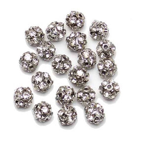 Crystal & Silver Tone Rhinestone Ball Beads 6mm