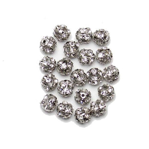 Bead, Beads, Glass, Glass Bead, Glass Beads, Metal, Metal Bead, Metal Beads, Rhinestone, Rhinestone Bead, Rhinestone Beads, Rhinestone Balls, Round, Round Bead, Round Beads, 8mm, Crystal, Silver