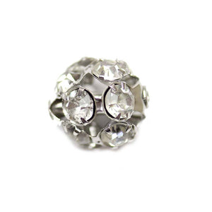 Crystal & Silver Tone Rhinestone Ball Beads 12mm