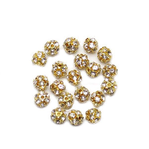 Crystal & Gold Tone Rhinestone Ball Beads 6mm