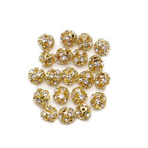 Crystal & Gold Tone Rhinestone Ball Beads 8mm
