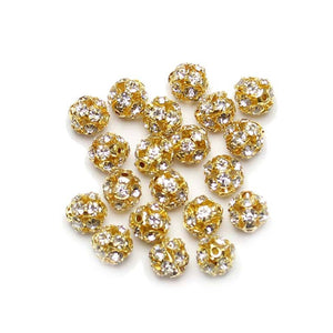 Crystal & Gold Tone Rhinestone Ball Beads 10mm