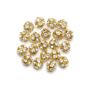 Crystal & Gold Tone Rhinestone Ball Beads 12mm