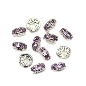 Lavender Glass Rhinestone Rondells Beads 8mm