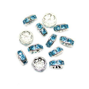 Aqua Glass Rhinestone Rondells Beads 8mm