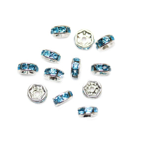 Aqua Glass Rhinestone Rondells Beads 6mm