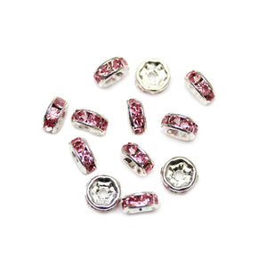 Pink Glass Rhinestone Rondells Beads 6mm