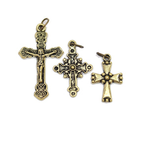 Multi-pack - Antique Gold Tone Cross Charms - 3pcsCharm by Halcraft Collection
