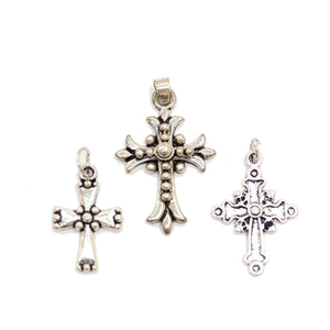 Multi-pack - Silver Plated & Antique Silver Plated Cross Charms - 3pcsCharm by Halcraft Collection