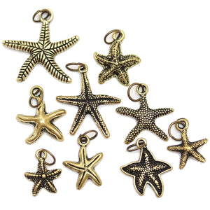 Multi-pack - Antique Gold Tone Starfish Charms - 9pcsCharm by Halcraft Collection