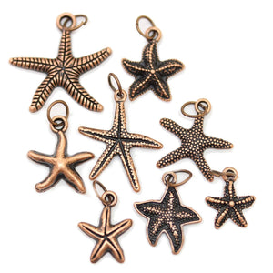 Multi-pack - Antique Copper Tone Starfish Charms - 8pcsCharm by Bead Gallery