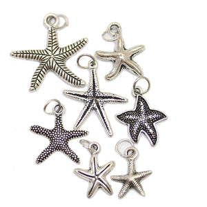 Multi-pack - Antique Silver Plated Starfish Charms - 7pcsCharm by Bead Gallery