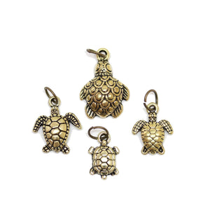 Multi-pack - Antique Gold Tone Turtle Charms - 4pcsCharm by Halcraft Collection