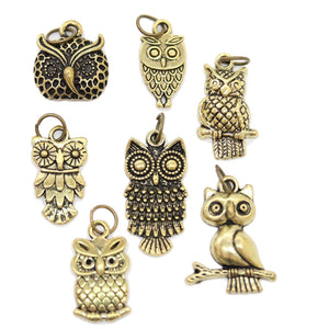 Multi-pack - Antique Gold Tone Owl Charms - 7pcsCharm by Bead Gallery