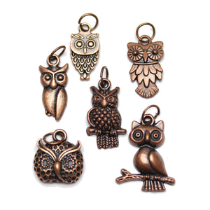 Multi-pack - Antique Copper Tone Owl Charms - 6pcsCharm by Bead Gallery