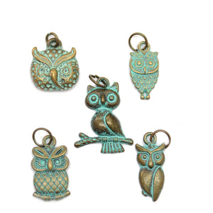Multi-pack - Patina Plated Owl Charms - 5pcsCharm by Halcraft Collection