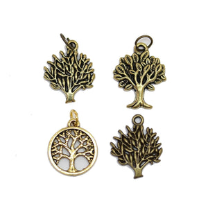Multi-pack - Antique Gold & Bronze Tone Tree of Life Charms - 4pcsCharm by Halcraft Collection