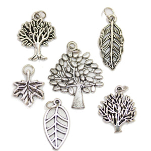 Multi-pack - Antique Silver Plated Tree of Life & Leaf Charms - 6pcsCharm by Bead Gallery