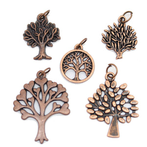 Multi-pack - Antique Copper Tone Tree of Life Charms - 5pcsCharm by Bead Gallery