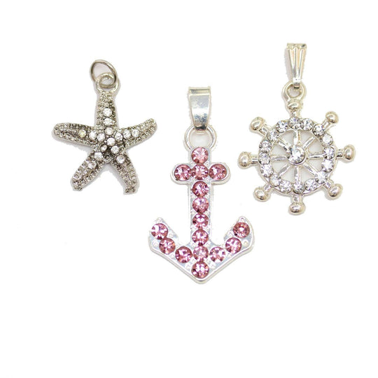 Multi-pack - Silver Plated & Rhinestone Sea Mix Charms - 3pcsCharm by Halcraft Collection