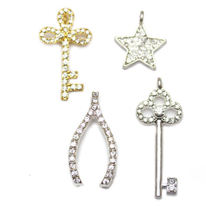 Multi-pack - Silver Plated & Gold Tone Rhinestone Charms - 4pcsCharm by Bead Gallery
