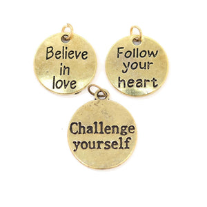 Multi-pack - Antique Gold Tone Inspirational Charms - 3pcsCharm by Bead Gallery