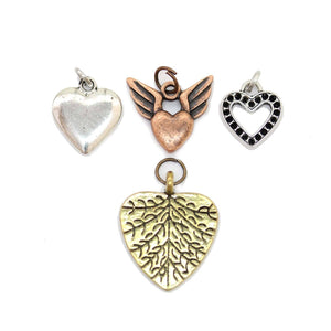 Multi-pack - Antique Mix Heart Charms - 4pcsCharm by Bead Gallery