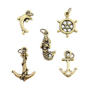 Multi-pack - Antique Gold Tone Sea Mix Charms - 5pcsCharm by Halcraft Collection
