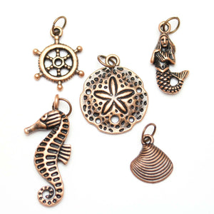 Multi-pack - Antique Copper Tone Sea Mix Charms - 5pcsCharm by Halcraft Collection