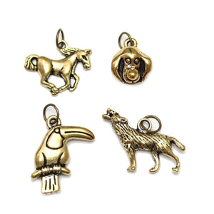 Multi-pack - Antique Gold Tone Animal Mix Charms - 4pcsCharm by Bead Gallery