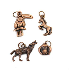 Multi-pack - Antique Copper Tone Animal Mix Charms - 4pcsCharm by Bead Gallery