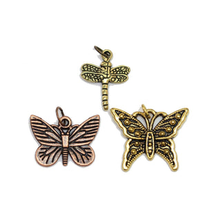 Multi-pack - Antique Copper & Gold Tone Butterfly & Droganfly Charms - 3pcsCharm by Bead Gallery