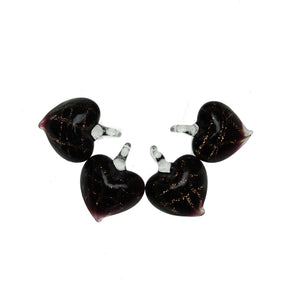 Glass Black Hearts 13x18mm  PendantPendant by Halcraft Collection