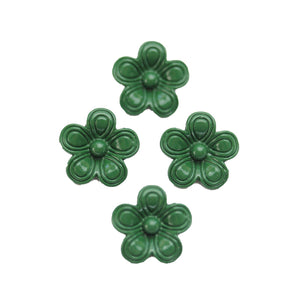 Dark Green Painted Zinc Alloy Metal Flower 14x14mm Charms - 4pcsCharm by Halcraft Collection