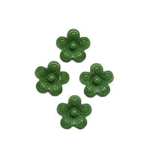 Green Painted Zinc Alloy Metal Flower 14x14mm Charms - 4pcsCharm by Halcraft Collection