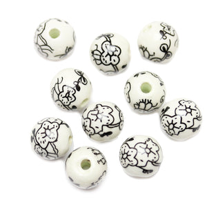 Arty Floral Ceramic Mix 12mm  Beads