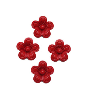 Red Painted Zinc Alloy Metal Flower 14x14mm Charms - 4pcsCharm by Halcraft Collection