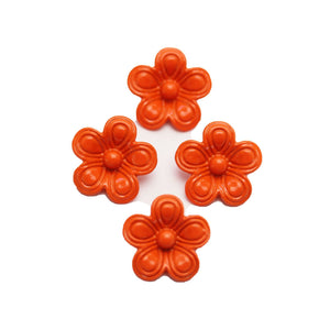 Orange Painted Zinc Alloy Metal Flower 14x14mm Charms - 4pcsCharm by Halcraft Collection