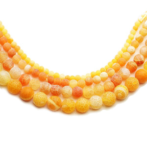 Multi-pack - Orange Dyed Crackle Agate Stone Round Beads (sizes 4mm, 6mm, 8mm, 10mm)Beads by Halcraft Collection