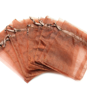 Brown Chiffon Bags 3.5x4.5 inches with drawstring closureBags by Halcraft Collection