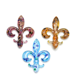 Lampwork Glass Fleur De Lis Mix 49x59mm  PendantPendant by Halcraft Collection